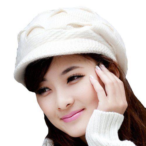 LOCOMO Women Girl Slouchy Cut Openings Fluffy Knit Beanie Crochet Rib Hat  Brim Cap Winter Warm 6eface4fac8b