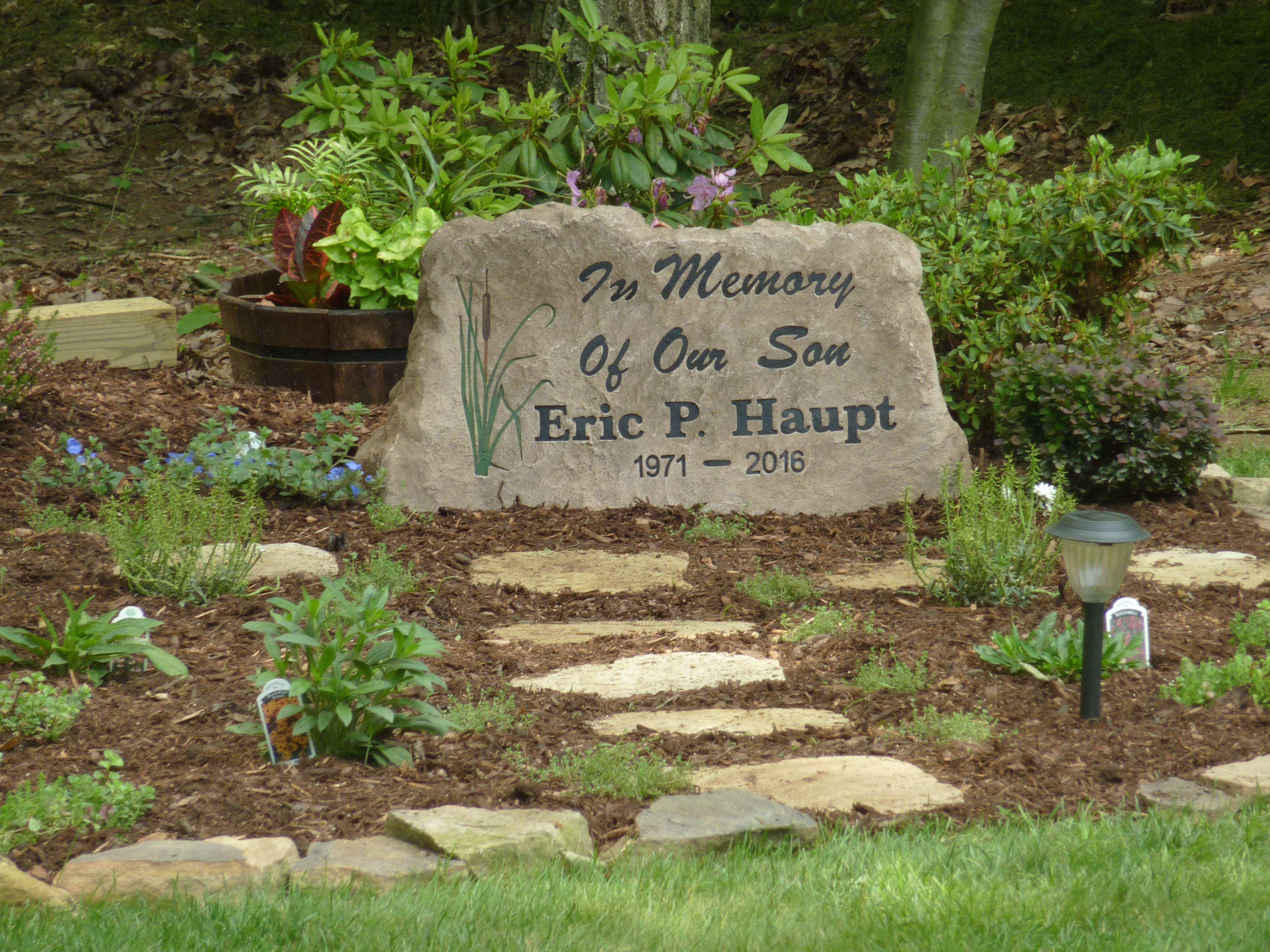 Our Memorial Garden For Our Son Featuring A Custom Made Stone Memorial Garden Memorial Garden Plaques Prayer Garden
