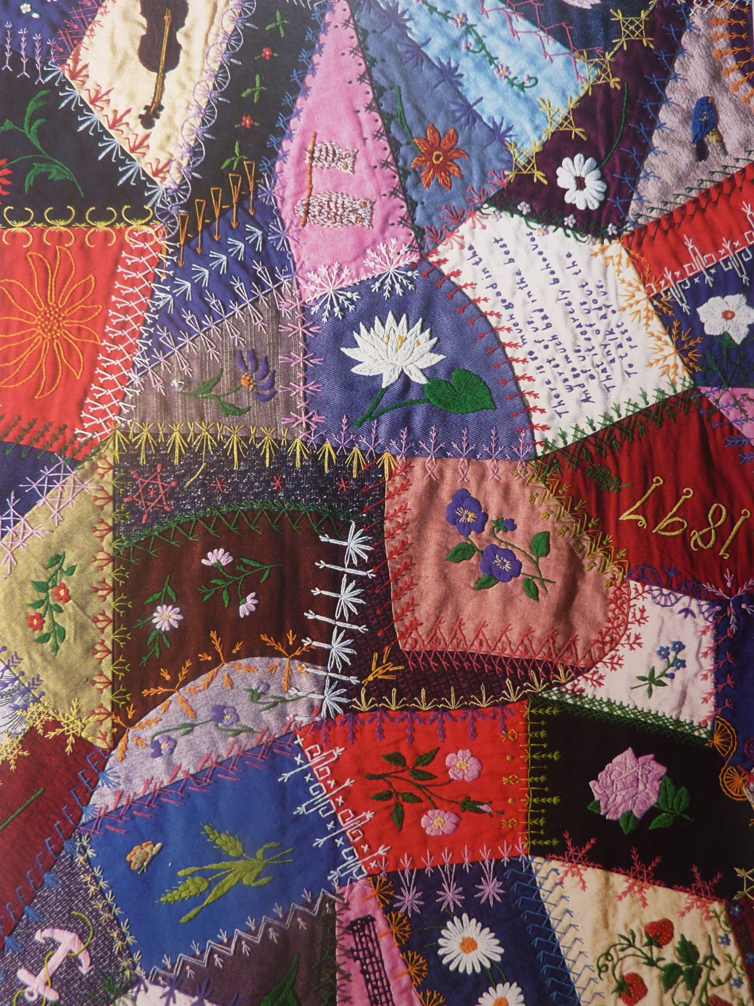 Edna Force Davis (American) Wool crazy patchwork detail 1897-1929 Smithsonian Institution