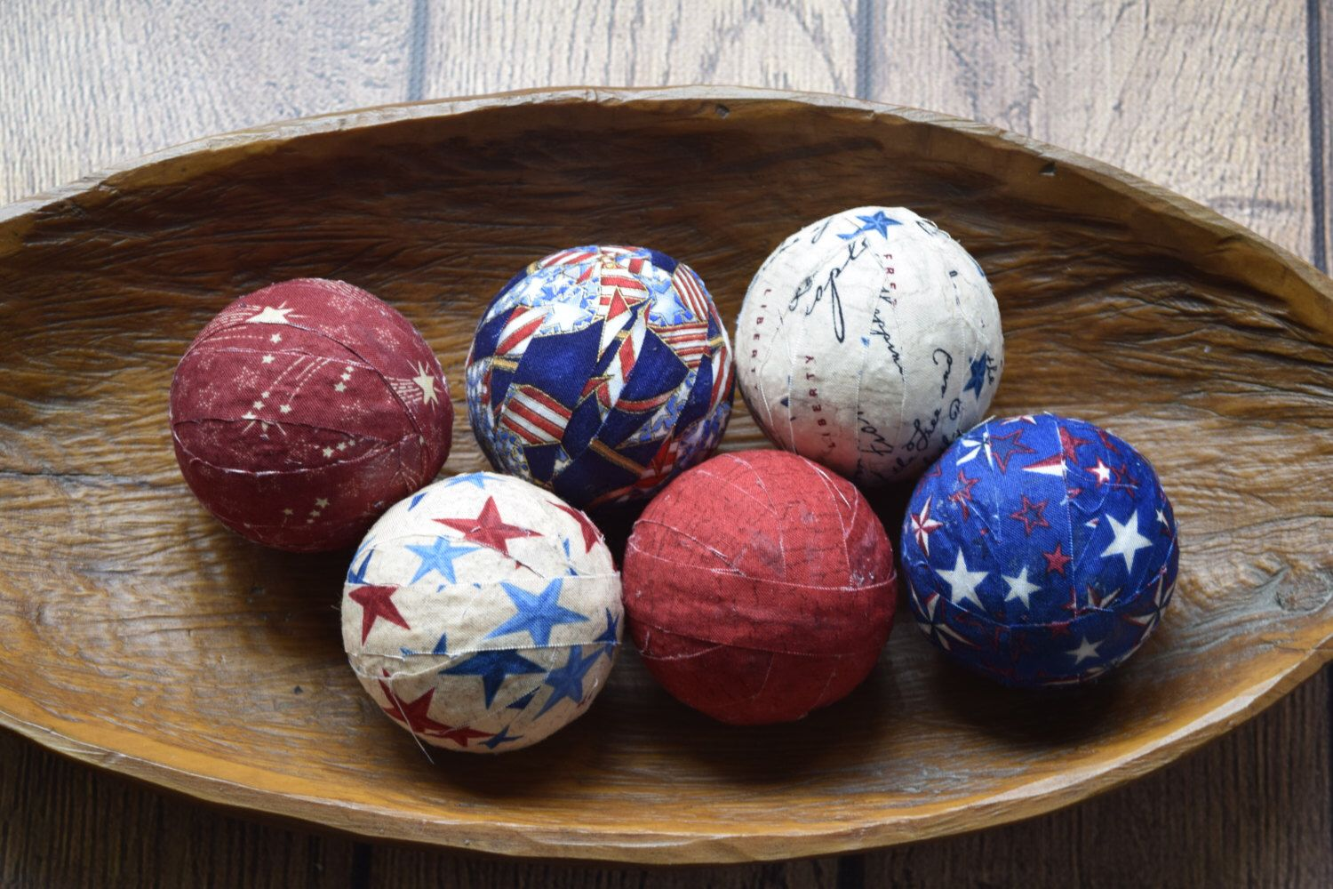 Decorative Balls For Bowls Interesting Americana Patriotic Decorative Fabric Rag Balls Fabric Balls Rag Decorating Design