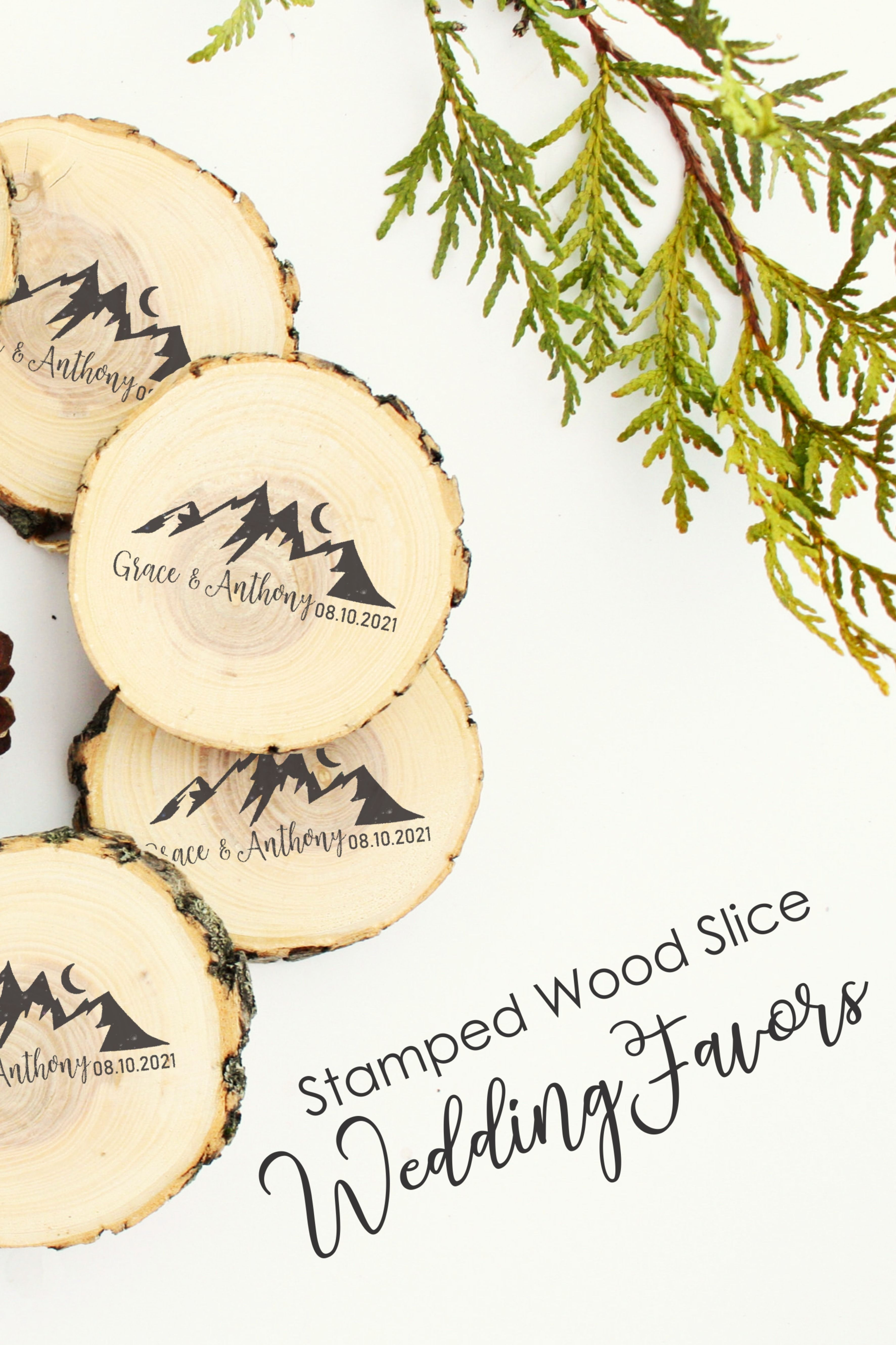 Mountain Wedding Favors From Rubber Stamps And Wood Slices Wedding Coasters Favors Wedding Saving Inexpensive Wedding Favors