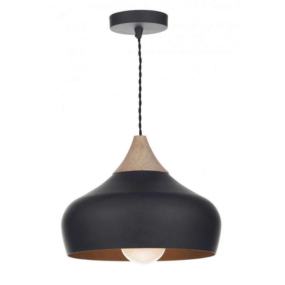 552ff3569931 GAU0122 Gaucho Pendant | Dar Matt Black Ceiling Light Wood Detail ...