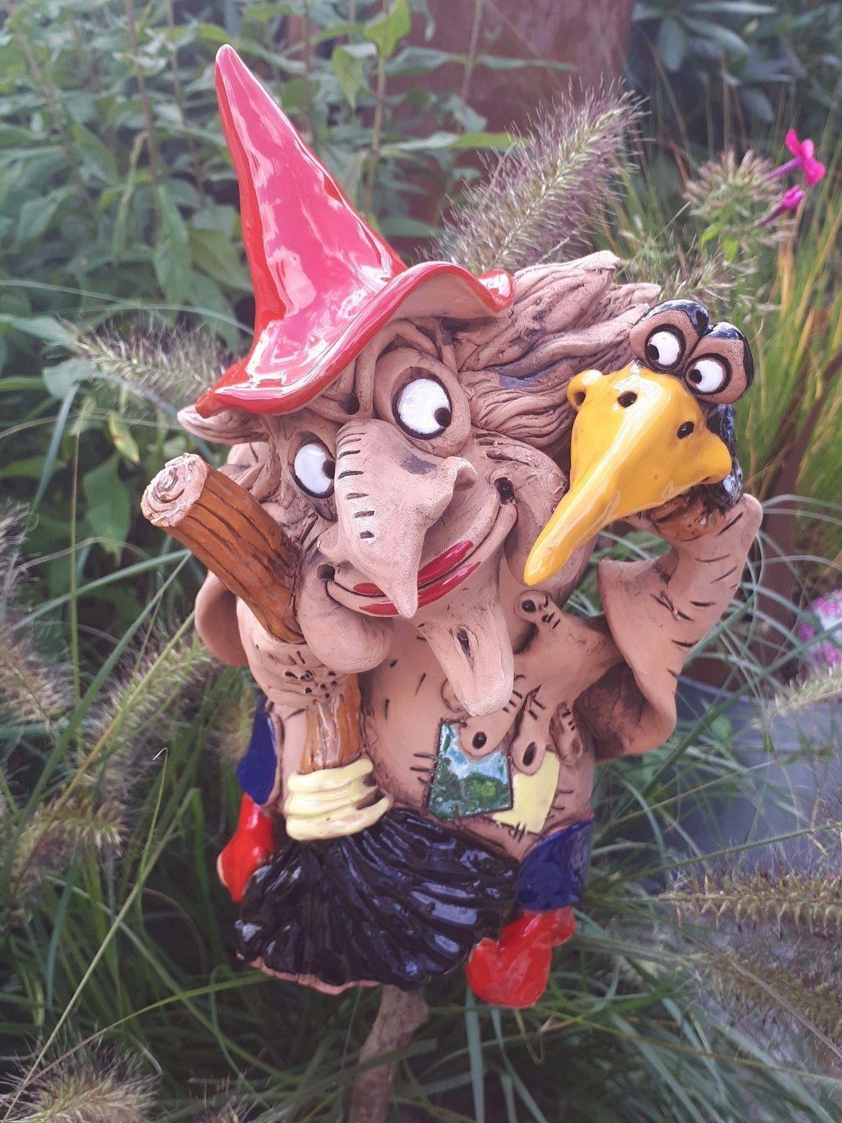 Keramik Hexe Mit Vogel Deko Garten Terrasse Beet Figur Handarbeit Skulptur Rabe Ebay Christmas Ornaments Holiday Decor Novelty Christmas