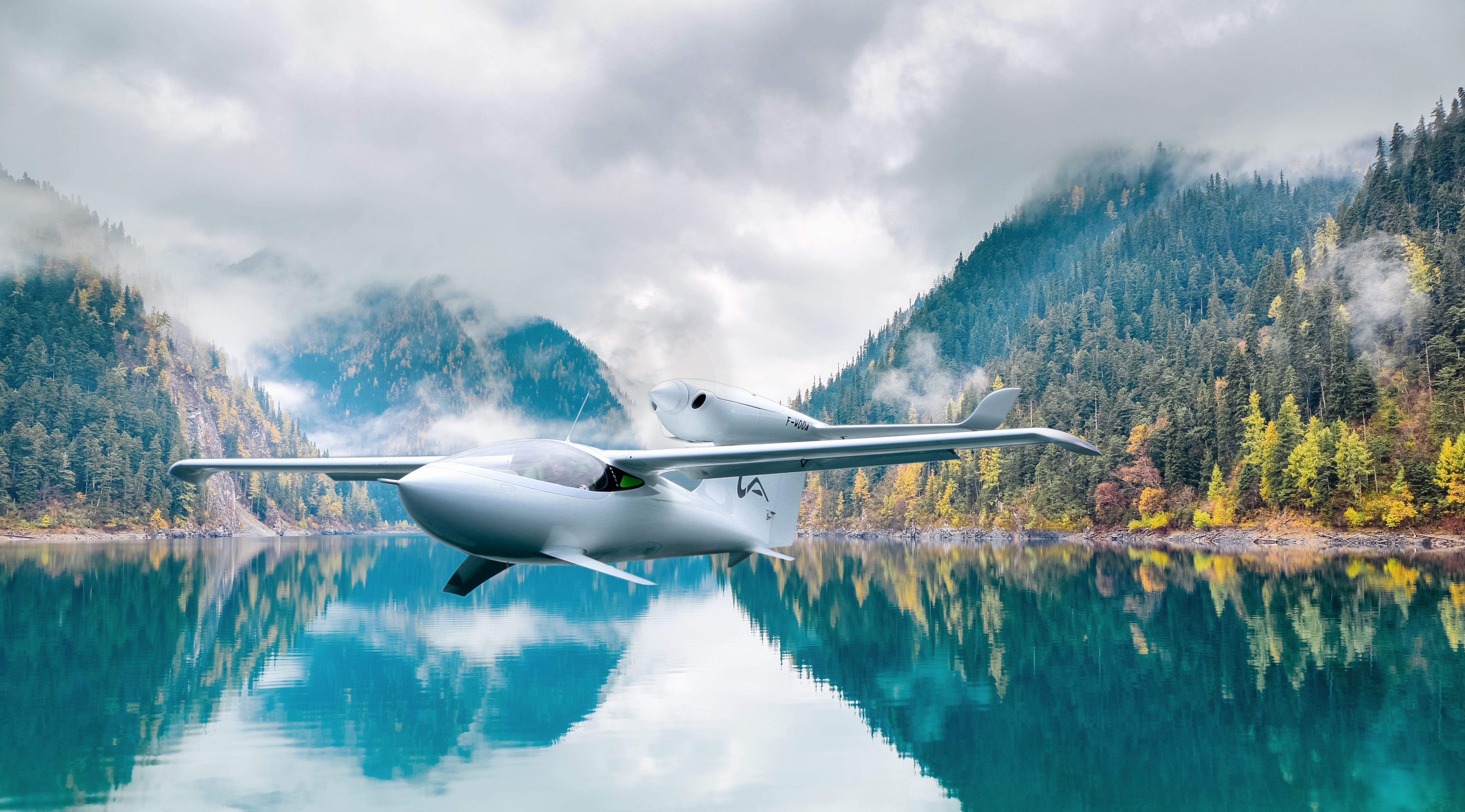 LISA Airplanes - AKOYA - unique airplane design above water