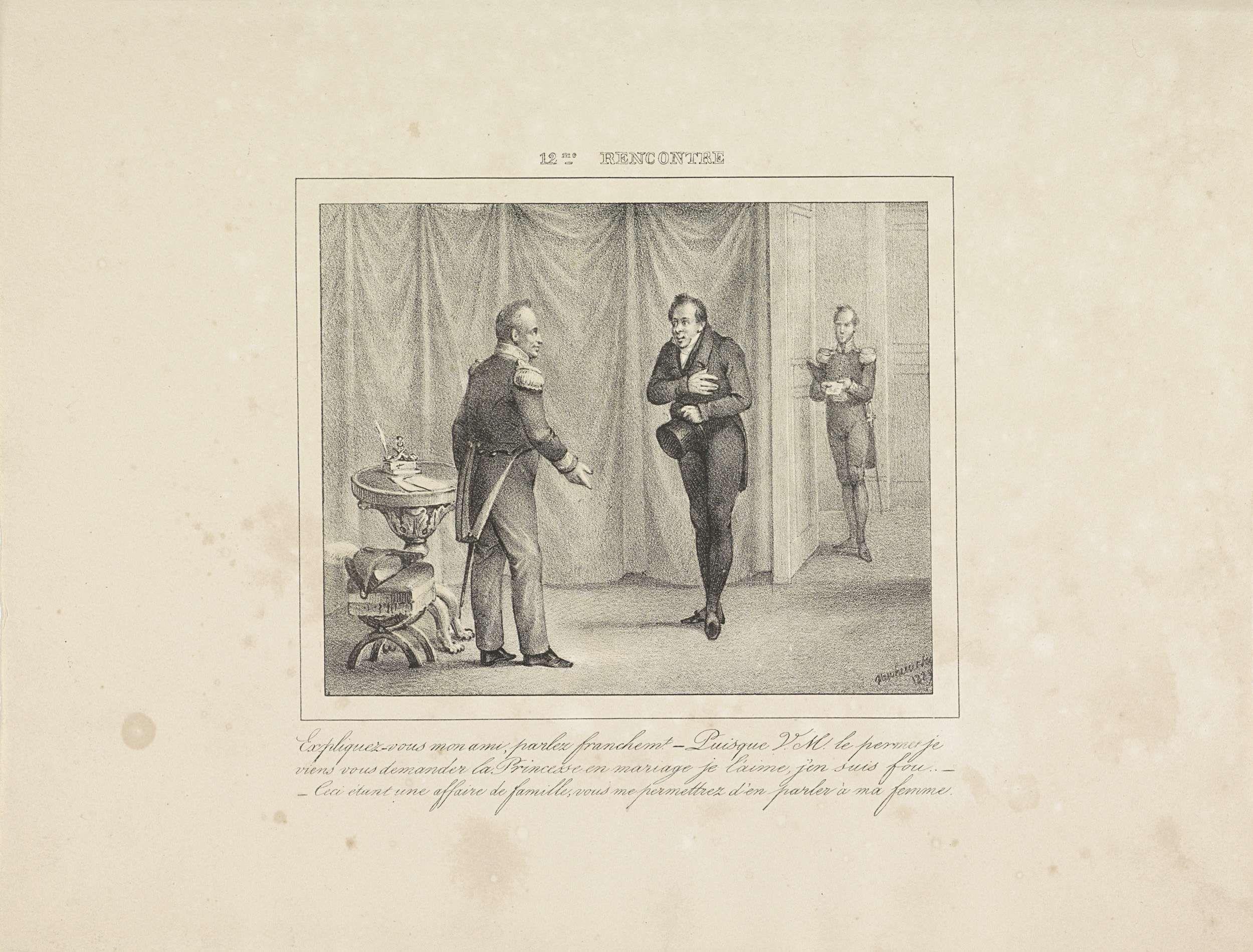 Jean-Louis Van Hemelryck   Koning Willem I ontvangt een jongeman die om de hand van zijn dochter vraagt, 1829, Jean-Louis Van Hemelryck, Jobard, 1829   De koning ontvangt een jongeman die hem om de hand van zijn dochter vraagt en antwoordt dat dit een familiezaak is die hij met zijn vrouw moet bespreken. Met drieregelig onderschrift. Onderdeel van de serie van 24 platen met ontmoetingen met koning Willem I, verschenen onder de titel 'Les rencontres' in 1829-1830.