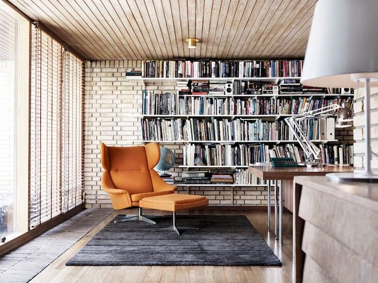 45 Amazing Scandinavian Ideas For Your Home Library In 2020 Home Library Design Home Library Scandinavian Shelves