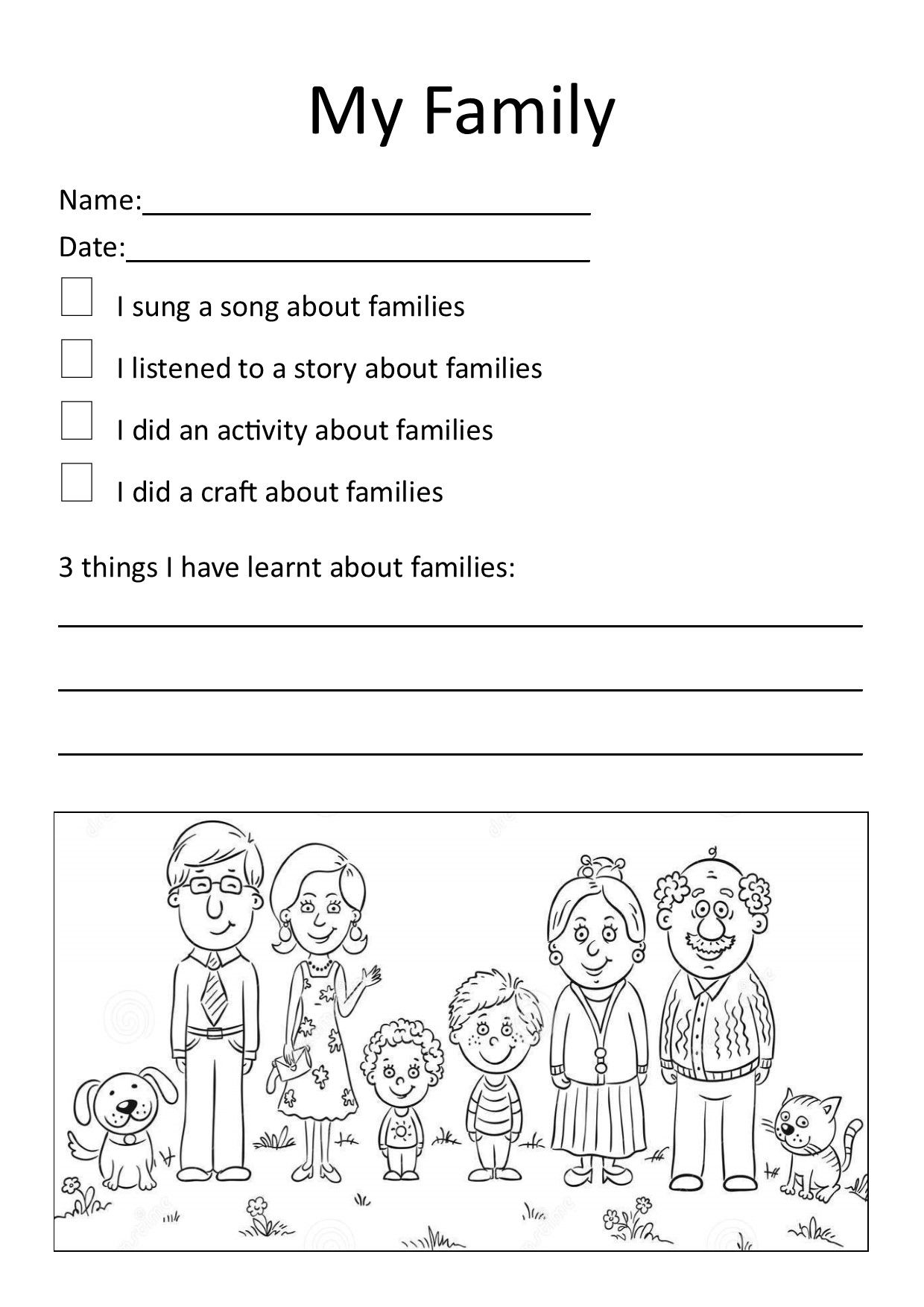 My Family Worksheet