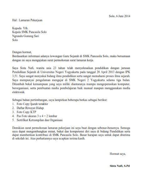 Contoh Surat Lamaran Kerja Guru Guru Surat Pendidikan