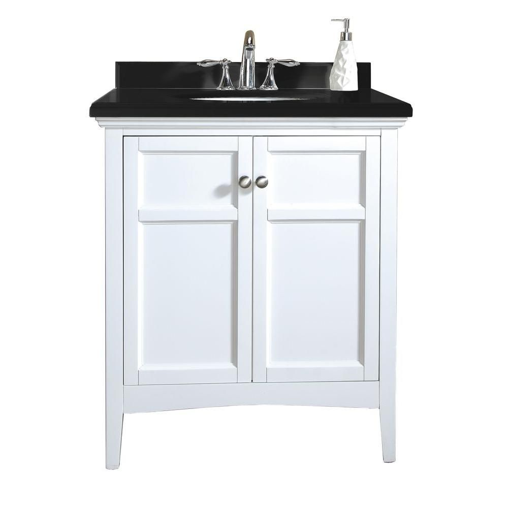 Ove Decors Campo 30 In Vanity White Lacquer With Granite Top Black
