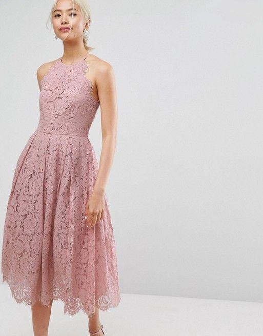 21322930db7bb Lace Pinny Scallop Edge Prom Midi Dress in 2019 | Bridesmaid ...