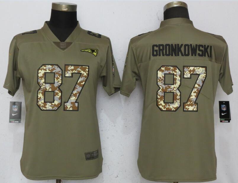 buy online 687b9 494ce Women New England Patriots 87 Gronkowski Olive Camo Carson ...