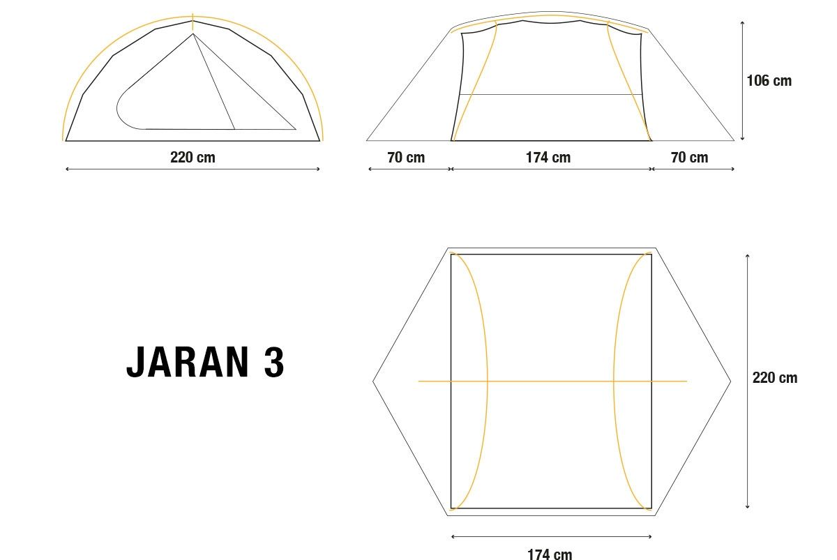 Jaran 3 person inner pitch first backpacking tent - Alpkit h106cm, breedte 174cm, 2,1kg 190£