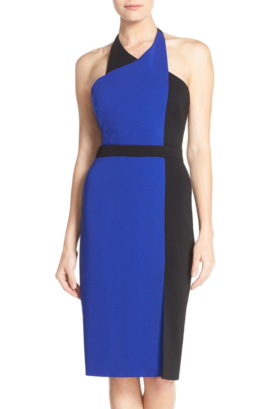Badgley Mischka Colorblock Halter Dress available at #Nordstrom ...