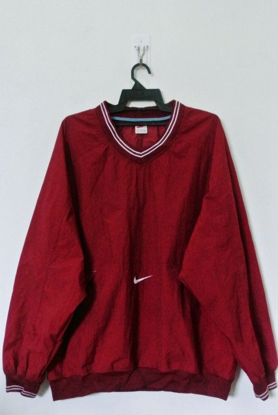Vintage 90s NIKE Maroon Nylon V Neck Pullover Size By Neverfull