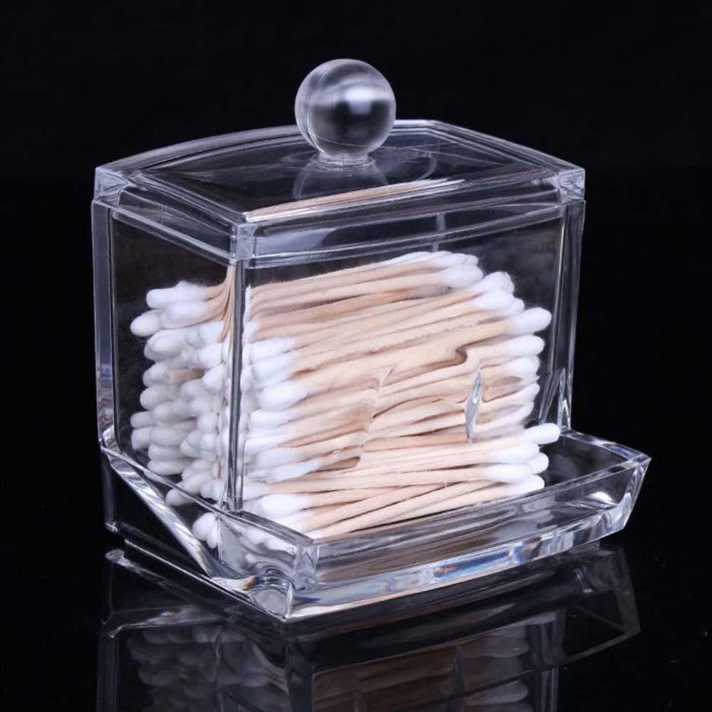2016 Fashion Clear Acrylic Cotton Swab Organizer Box Cosmetic Holder Q-tip Makeup  Storage Case
