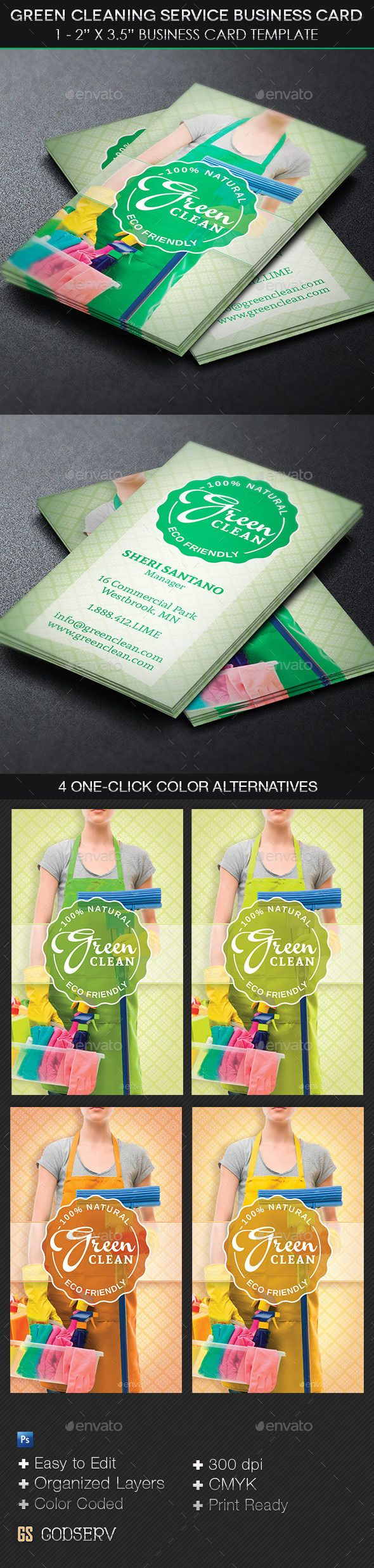 Green Cleaning Service Business Card Template | Green cleaning ...