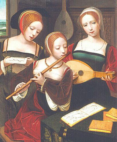 EXCERPT: Circa1520- The young ladies wear plain velvet kirtles. The construction of the centre brown velvet, gown is very interesting. It appears to be lined with red velvet but she could also be wearing another red gown underneath. The hoods of this period are still low on the head. The centre French hood and the one on the left show the band of silk keeping the hood in place before developing into a thinner chinstrap. Their hair is crimped in the french style.