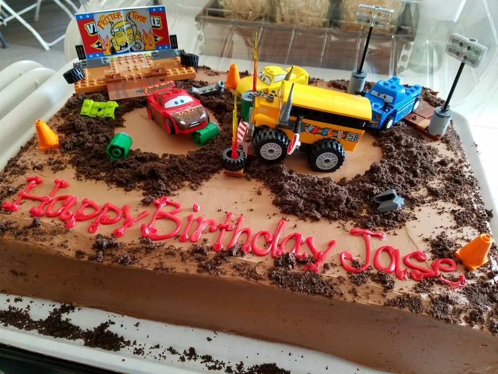 My Sons 4th Birthday Cake Cars 3 Thunder Hollow Made Decorated By Yours Truly Used A Blank Frosted Costco Sheet For This Mom Hack