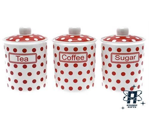 Vintage Set Of 3 Red White Polka Dot Tea Coffee Sugar Container Canister Ebay