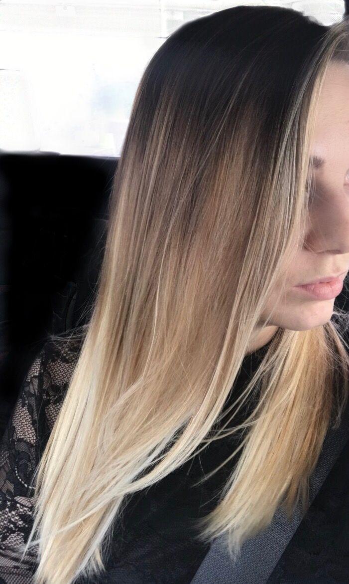 Dark brown to ashy blonde balayage ombré hair donut like