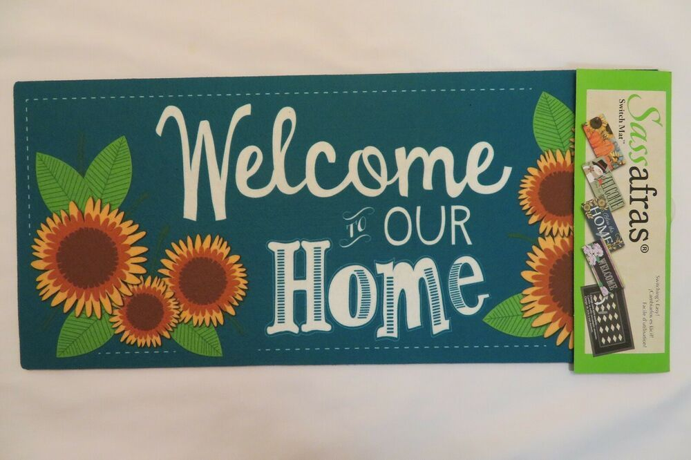 Welcome To Our Home Sunflowers Sassafras Rug Insert Switch Door Mat 10x22 Www Flagdesigns Com In 2020 Book Cover Mats Door Mat