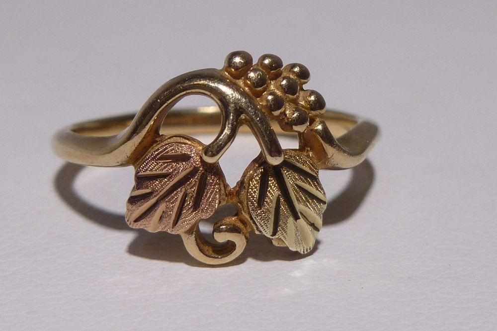 10k Gold Black Hills Ring Vine Grapes Yellow Rose Gold Bi Color Amazing Handmade Vine Black Hills Gold Jewelry Black Hills Gold Black Hills Gold Rings