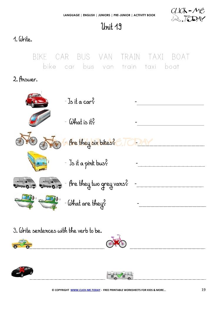 free printable beginner esl pre junior worksheet 19 means of transport english preschool. Black Bedroom Furniture Sets. Home Design Ideas