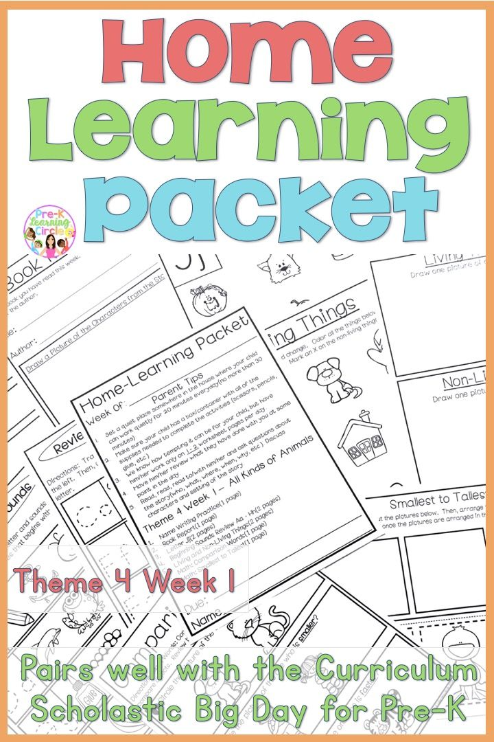 HomeLearning Packet(Scholastic Big Day for PreK) Theme 4