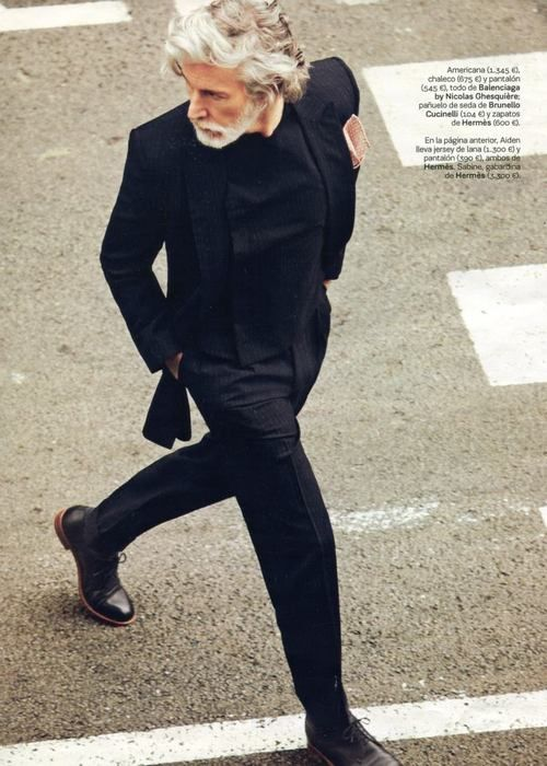 (Aiden Shaw in black) Unfamiliar with the man but I do  love the man in black!  Balenciaga.....and striding with a shock of white hair....Cool....