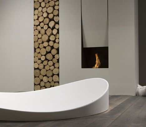 Antonio Lupi   Clever Bathtub Fireplace Wood Storage