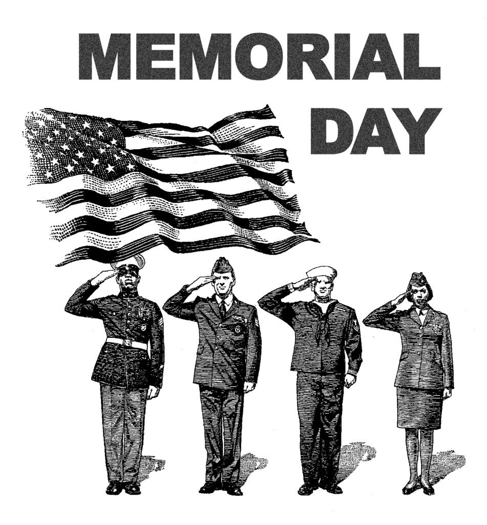 Memorial Day Black And White Clip Art