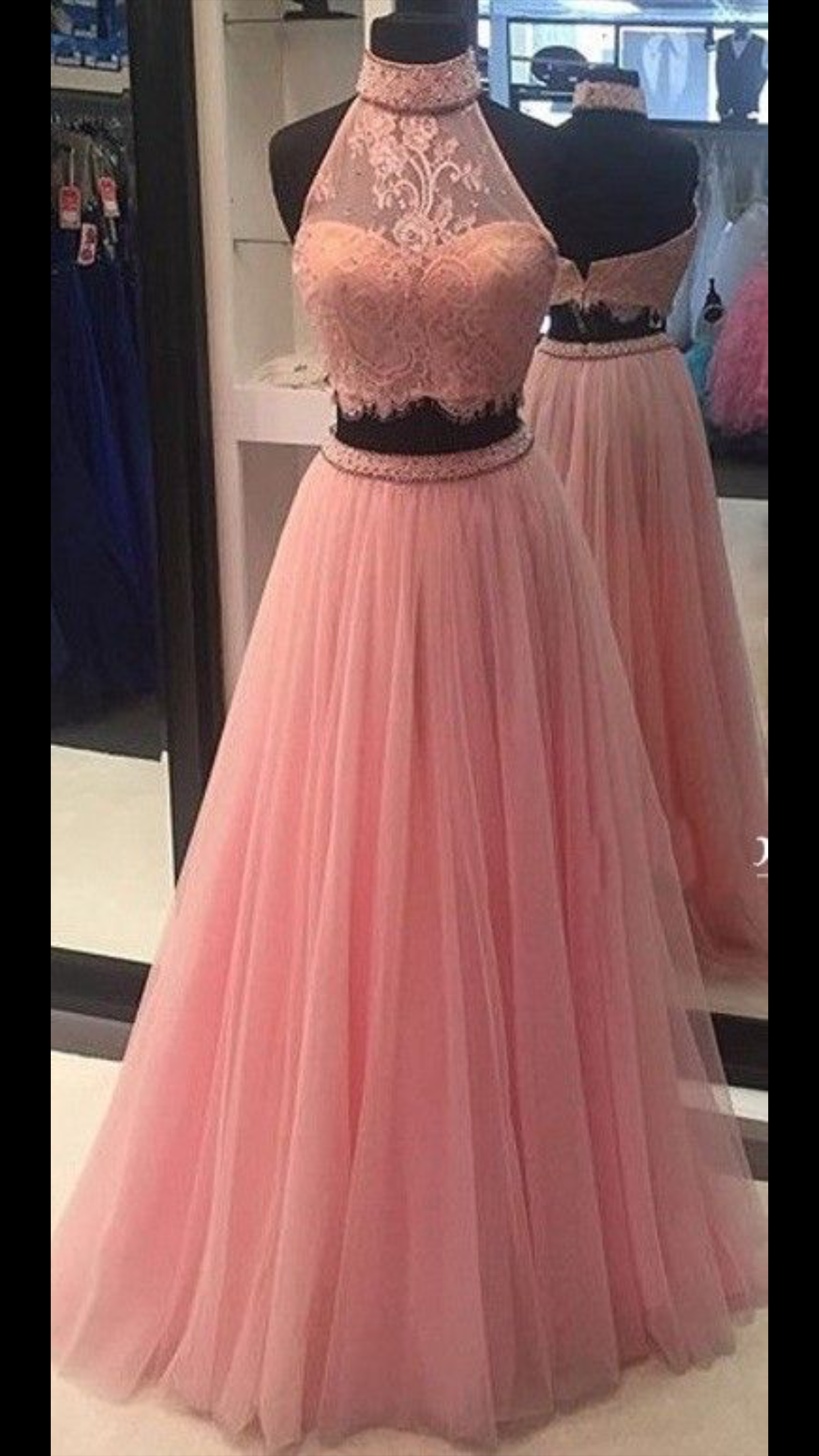High Quality High Neck Pink Two Pieces Long Prom Dresses Custom Made Lace  Tulle Evening Gowns dresses could be custom made 811a74fb4ed4