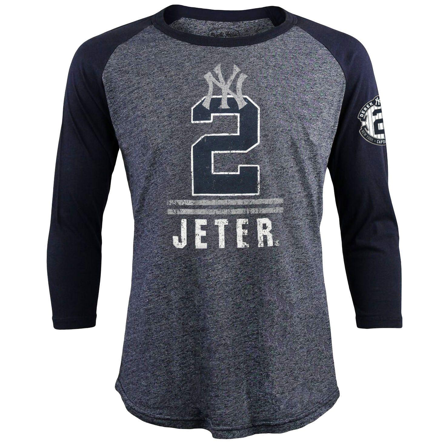 362356f5c Derek Jeter New York Yankees Majestic Threads Final Season Tri-Blend Raglan  T-Shirt - Heather Navy -  33.24