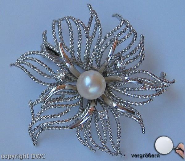 Diamantbrosche Brosche Brillantbrosche 14kt 585 Gold Mit Diamant Brillanten . Echtschmuck Broschen & Nadeln