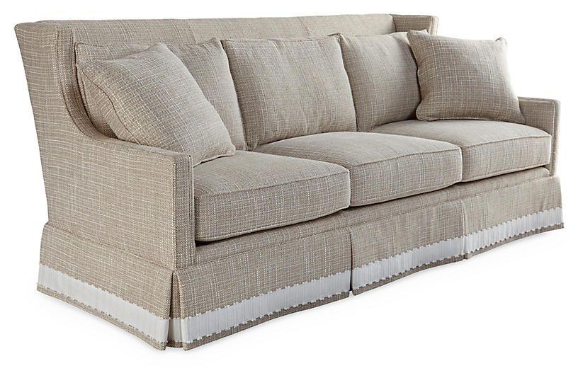 Pacific High Back Sofa, Cream Chenille