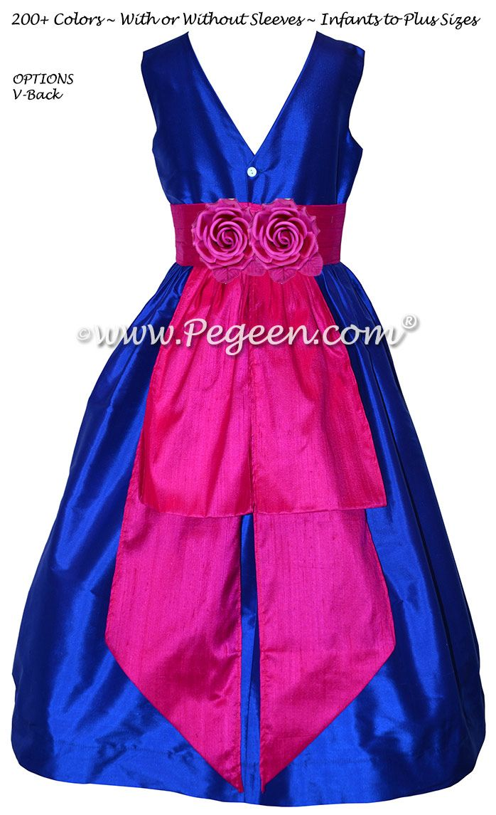 Blue Sapphire With Hot Pink Sash Custom Flower Girl Dress With V