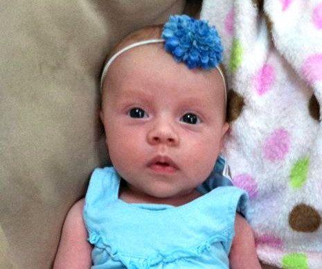Baby Headband-Small Blue Pom on a Skinny by CountryBabyHandmade