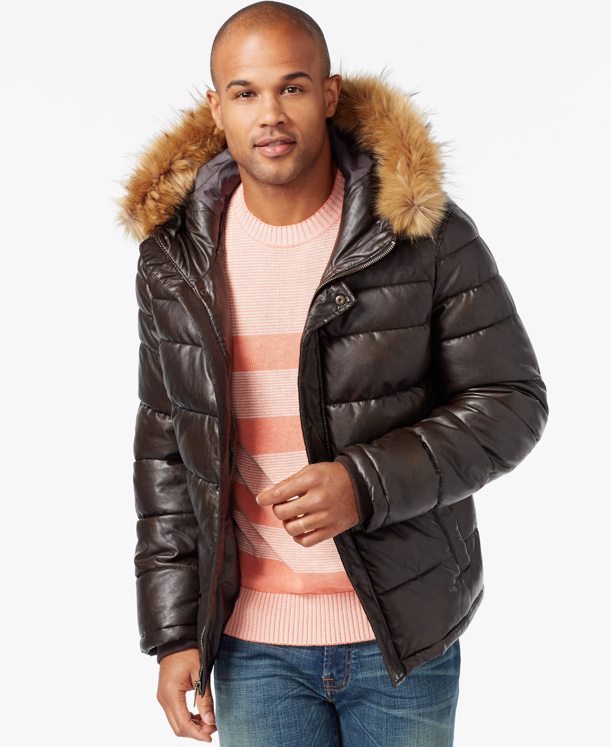 9ab78c01 Tommy Hilfiger Faux-Leather Puffer Hoodie Jacket | Down jackets ...