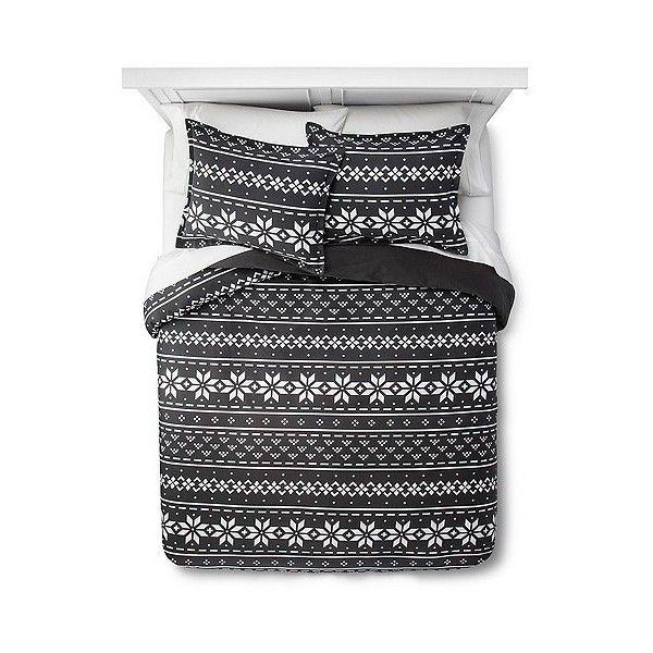 EV Christmas Fair Isle Flannel Duvet Cover Set - Charcoal ($34 ...