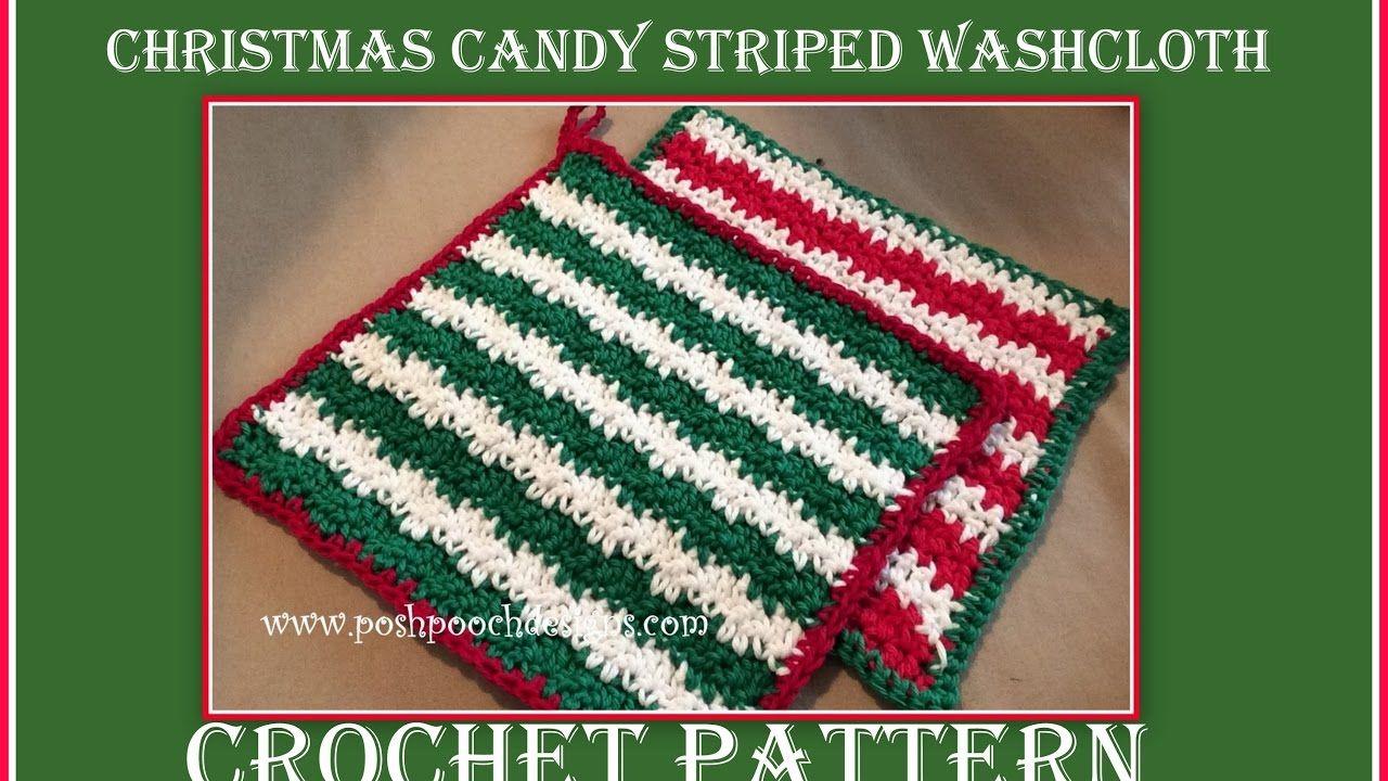 Christmas Candy Striped Washcloth Crochet Pattern - YouTube ...