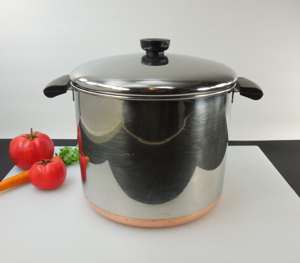 Sold Revere Ware Tall 8 Quart Stock Pot Lid Pre 1968 Process Pat Copper Clad Stainless Vintage Used Cookware Revere Ware Vintage Cookware Stock Pot