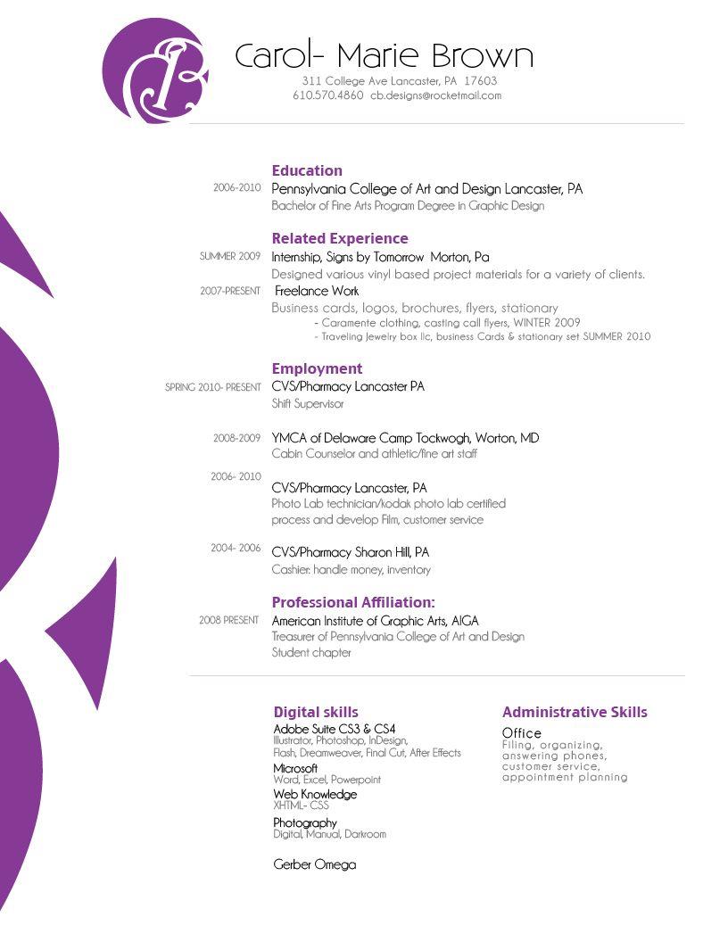 Resume by Carol Brown, via Behance Graphic design resume