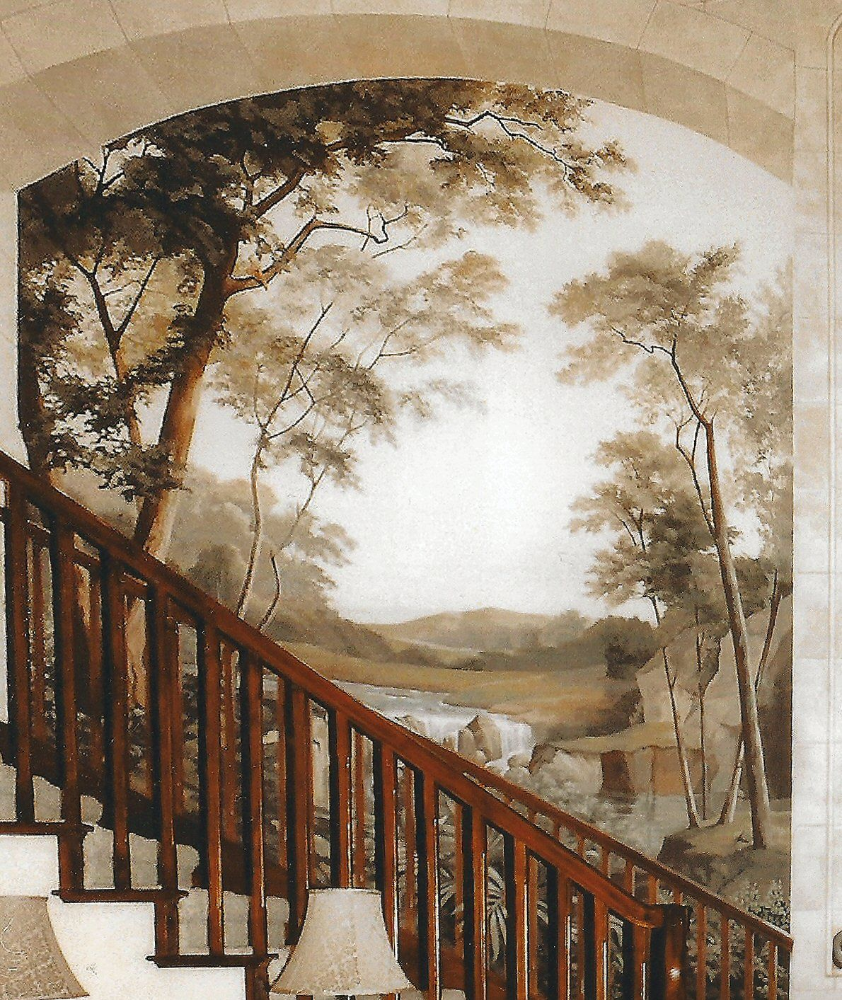 Curved staircase wall palette based upon living room