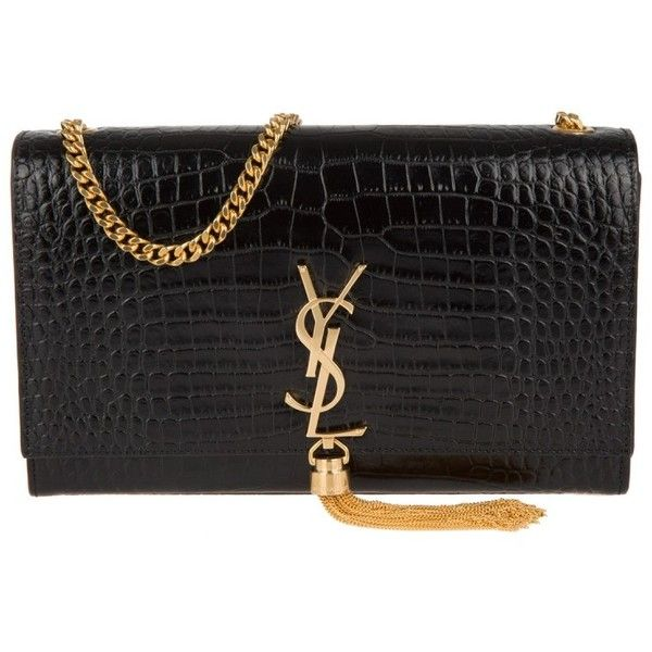 9f73c113d7d Saint Laurent YSL Monogramme Fake Croc Clutch Nero in black, Evening...  ($1,870) ❤ liked on Polyvore featuring bags, handbags, clutches, black, ...