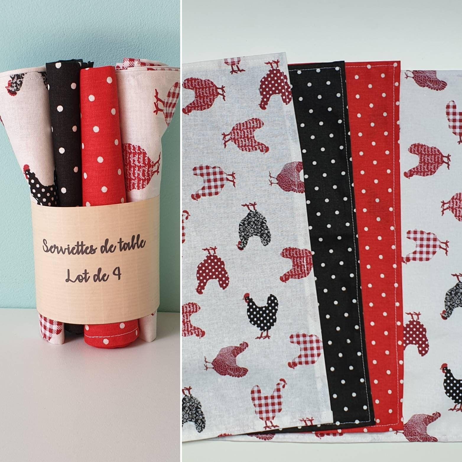 Serviettes De Table En Coton Lavable Poule Rouge Et Noir A Pois Lot De 4 Serviettes Zero Dechet Gifts Gift Wrapping Wrap
