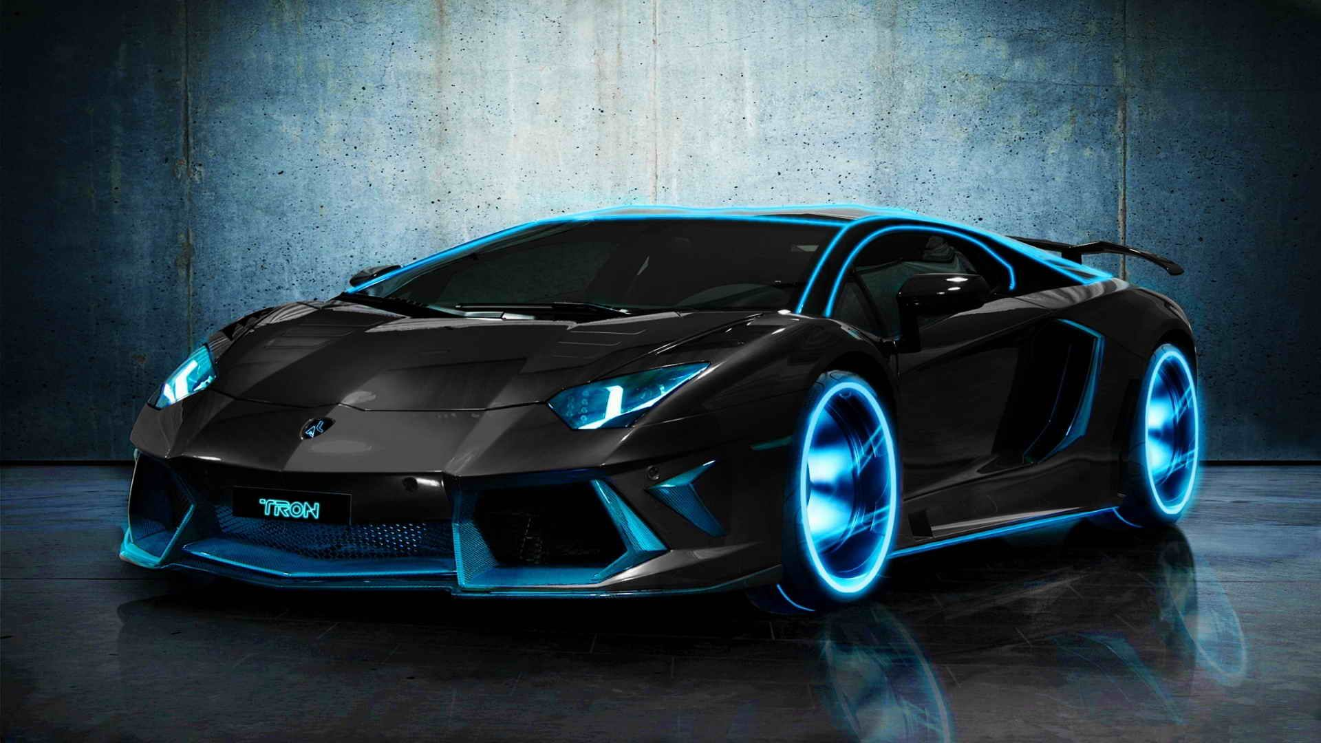 Black Lamborghini With Neon Blue Lights Light Blue Modified