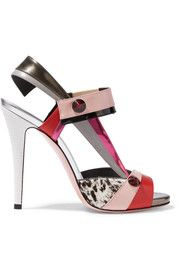 Fendi Anita paneled calf hair and leather sandals