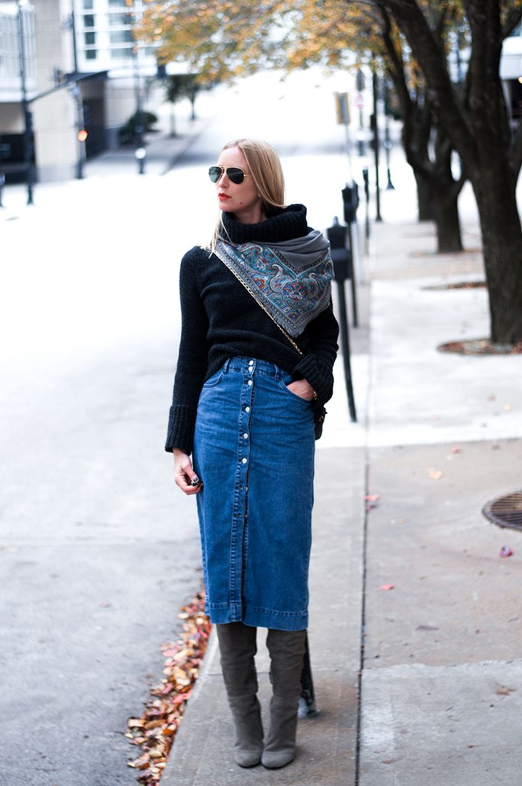 b33d826e42 20 Ways to Wear Your Favorite Midi Skirt this Winter - Buzz 2018. Denim Midi  Skirt with Over the knee Boots