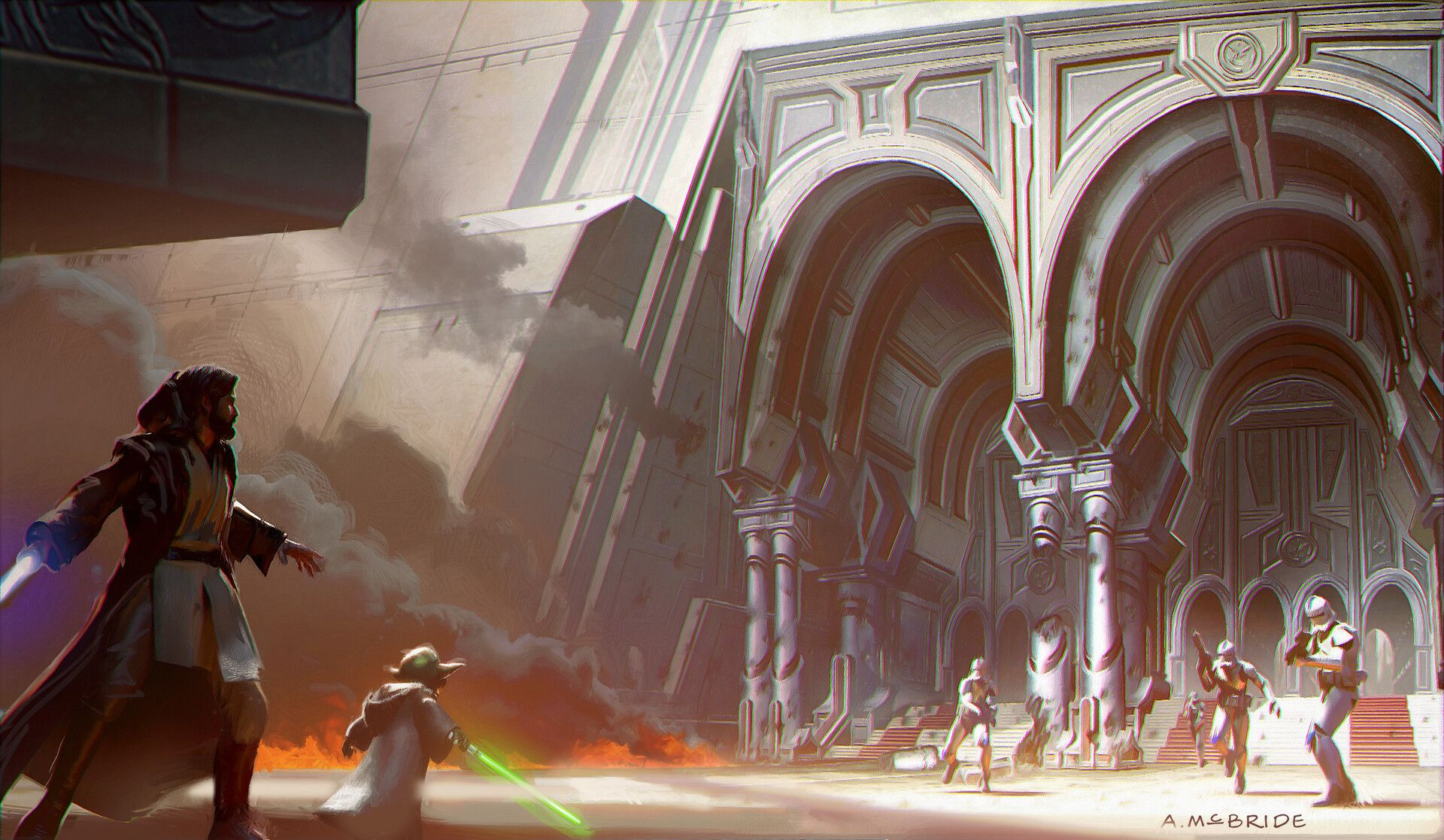 Star Wars Revenge Of The Sith 2005 Jedi Temple Ground Entrance Interior Concept By Aaron Mcbride In 2020 Sith Star Wars Characters Star Wars
