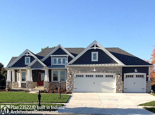 Plan 23522jd Craftsman With Multiple Garage Options Home Sweet